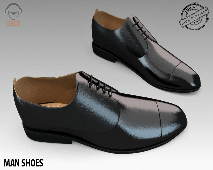 man shoe 3d model 3ds max fbx obj 139448