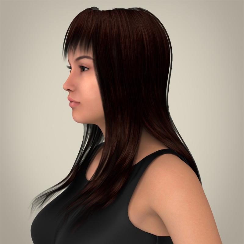 realistic young pretty lady 3d model 3ds max fbx c4d lwo ma mb texture obj 164114
