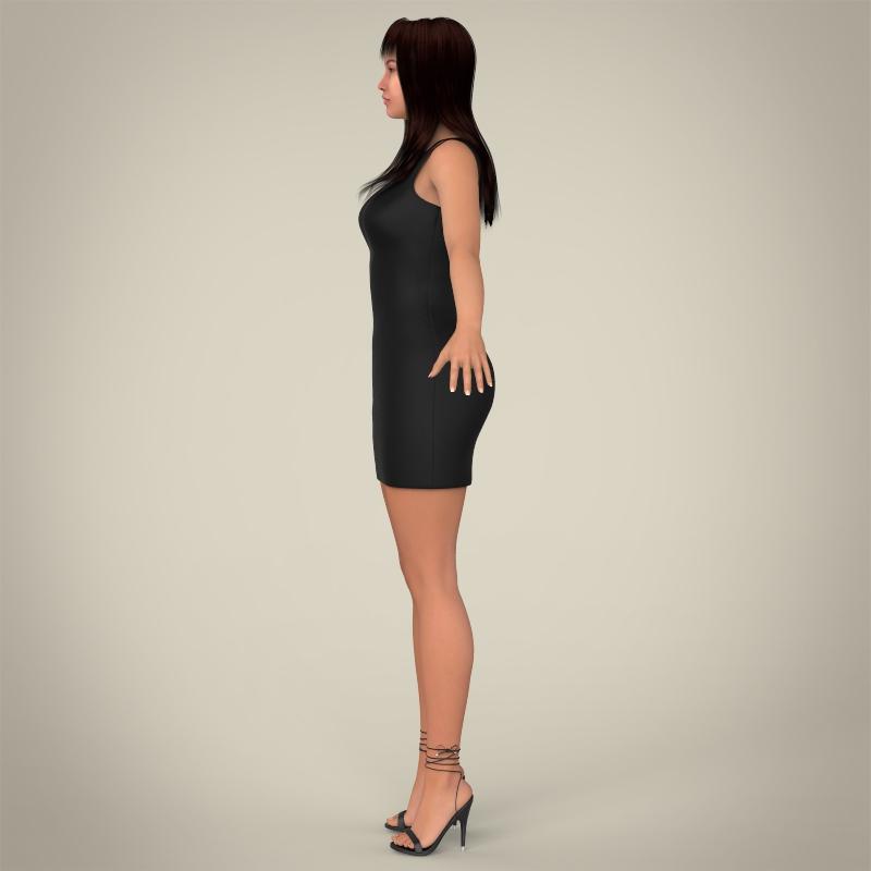 realistic young pretty lady 3d model 3ds max fbx c4d lwo ma mb texture obj 164121