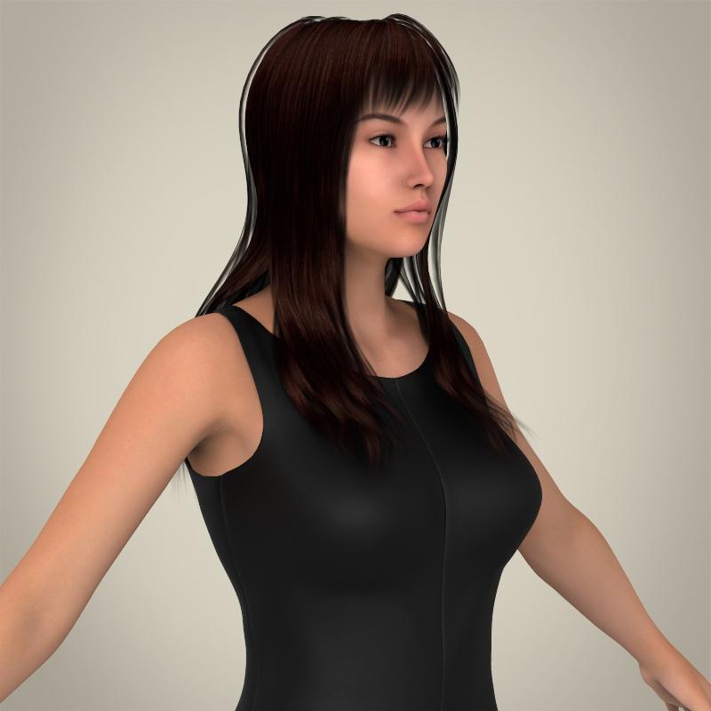 realistic young pretty lady 3d model 3ds max fbx c4d lwo ma mb texture obj 164125