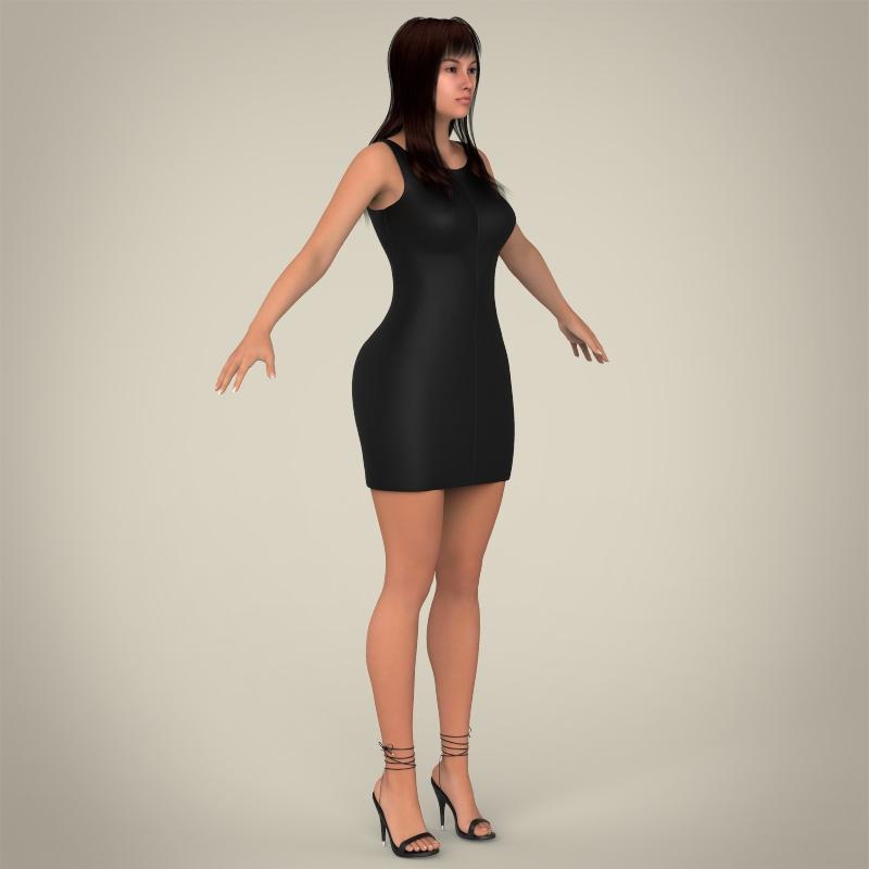 realistic young pretty lady 3d model 3ds max fbx c4d lwo ma mb texture obj 164126