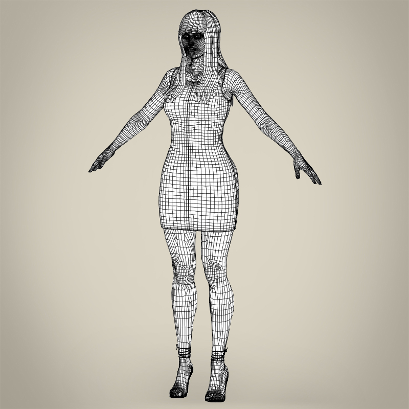 realistic young pretty lady 3d model 3ds max fbx c4d lwo ma mb texture obj 164132