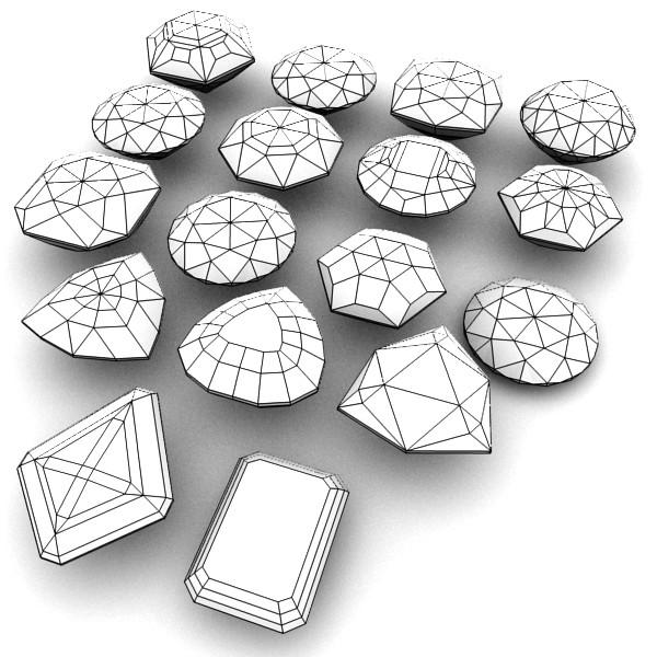 special cut gem collection 3d model fbx blend obj 149692