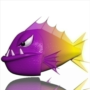 qəzəbli piranha 3d model 3ds max obj 111553