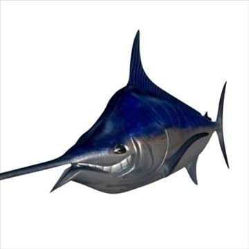 blue marlin toon fish 3d model 3ds max lwo obj 106597