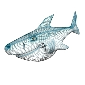 smiling shark 3d model 3ds max dxf obj 104697