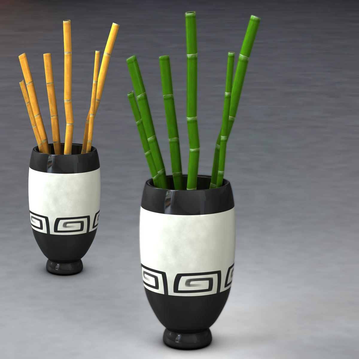 bamboo and vase low poly 3d model 3ds max fbx c4d ma mb obj 163027