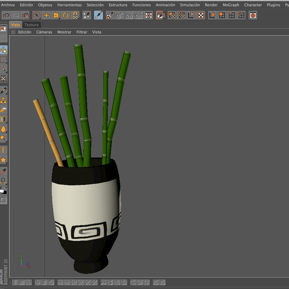 Bamboo and Vase Low Poly