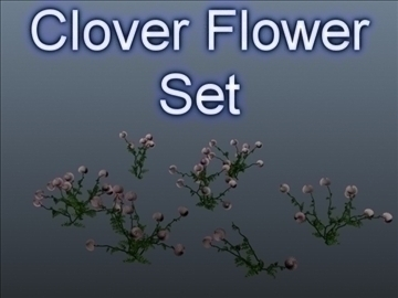 clover flower set 001 3d model 3ds max obj 102665