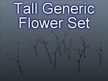 tall flower set 001 3d model 3ds max obj 102795