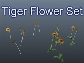 tiger flower set 001 3d model 3ds max obj 102917