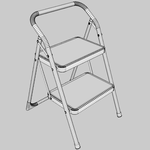 folding steps – step stool 3d model 3ds fbx skp obj 121115