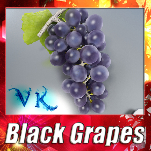 black grapes high detailed 3d model 3ds max fbx obj 124264