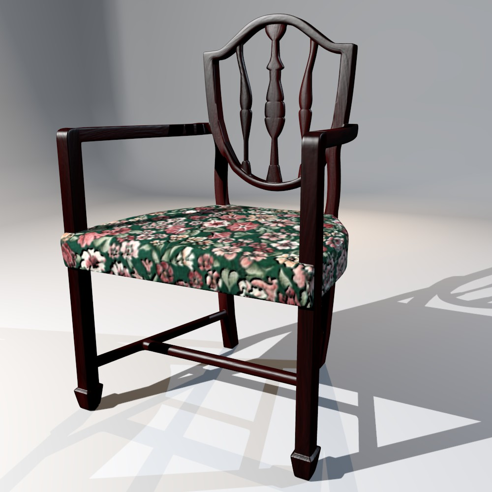 antique dining chair 3d model fbx blend dae obj 117506
