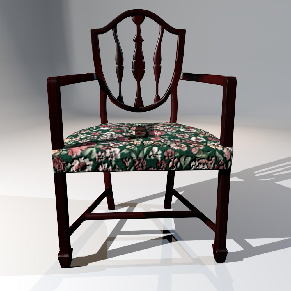 antička blagovaona stolica 3d model fbx mješavina dae obj 117507