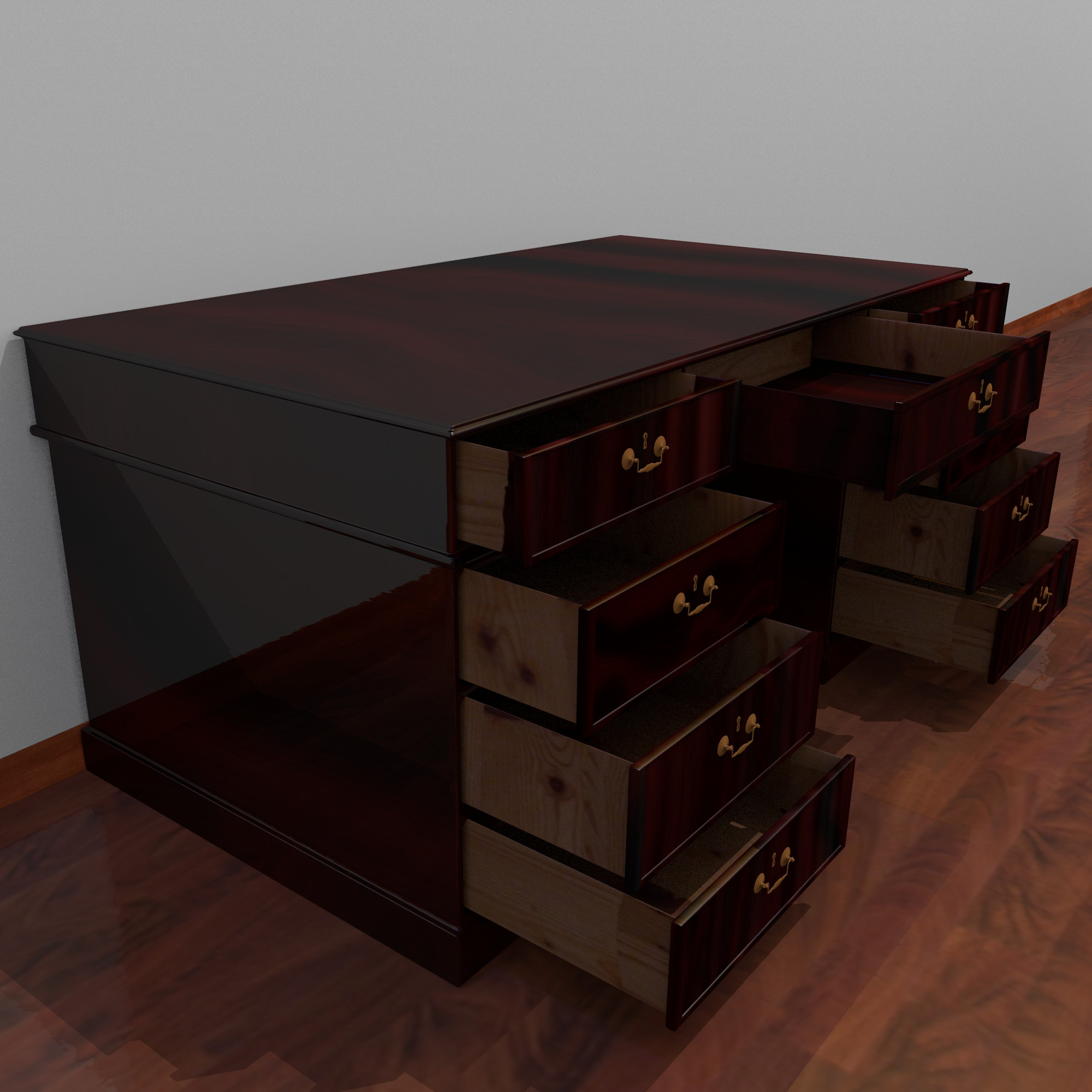 dark wood desk 3d model fbx blend dae obj 117670