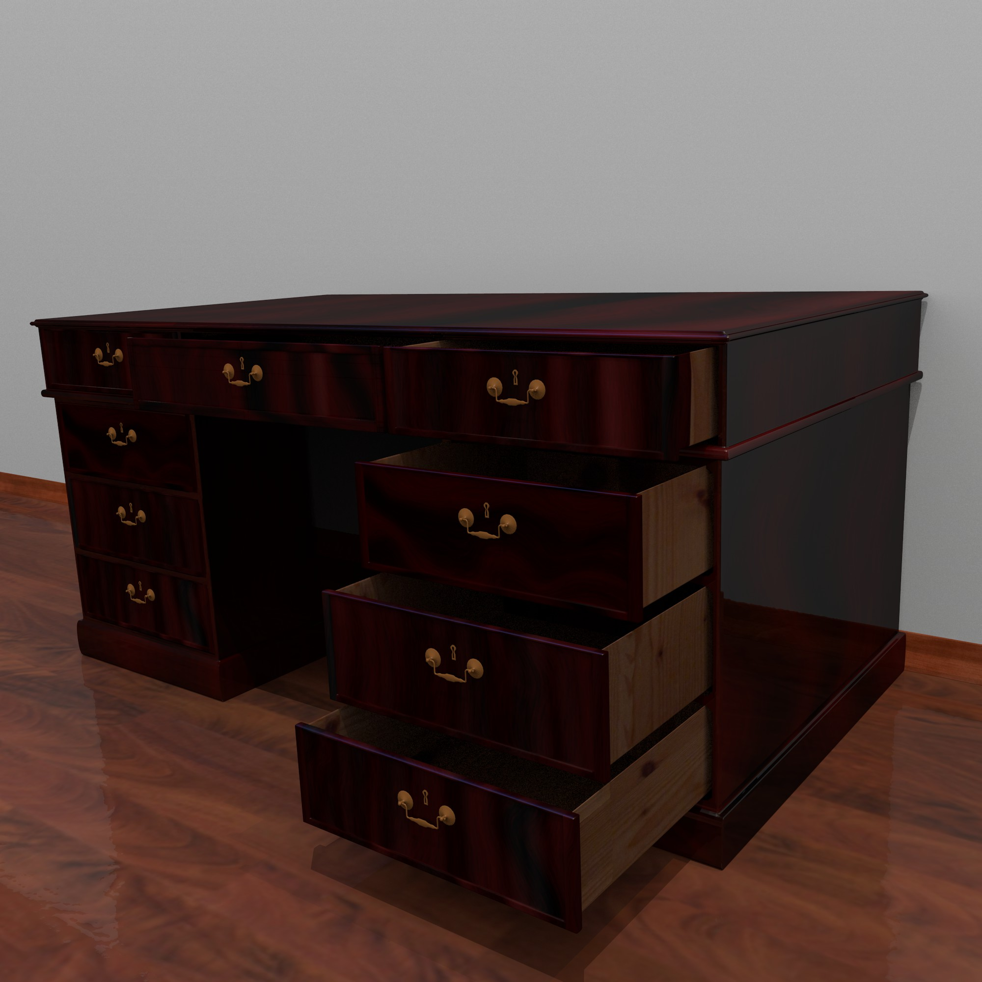 dark wood desk 3d model fbx blend dae obj 117671