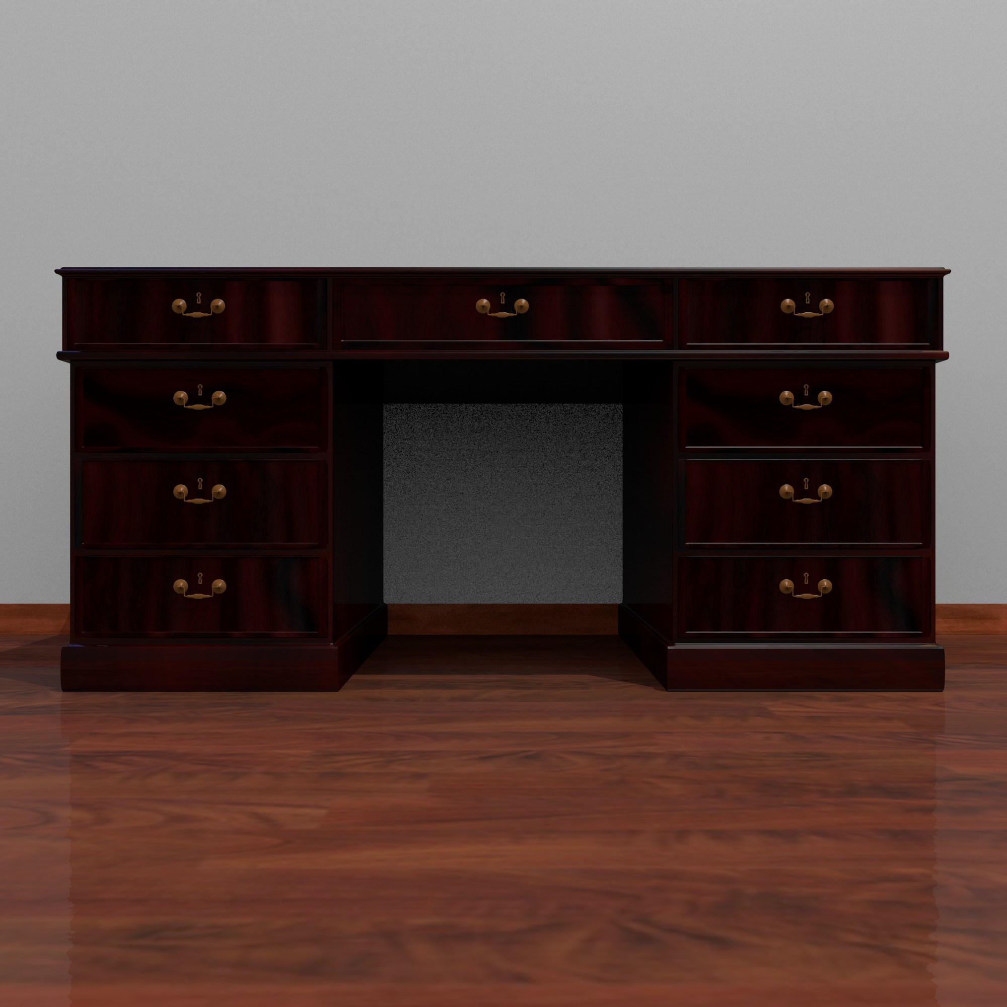 dark wood desk 3d model fbx blend dae obj 117672