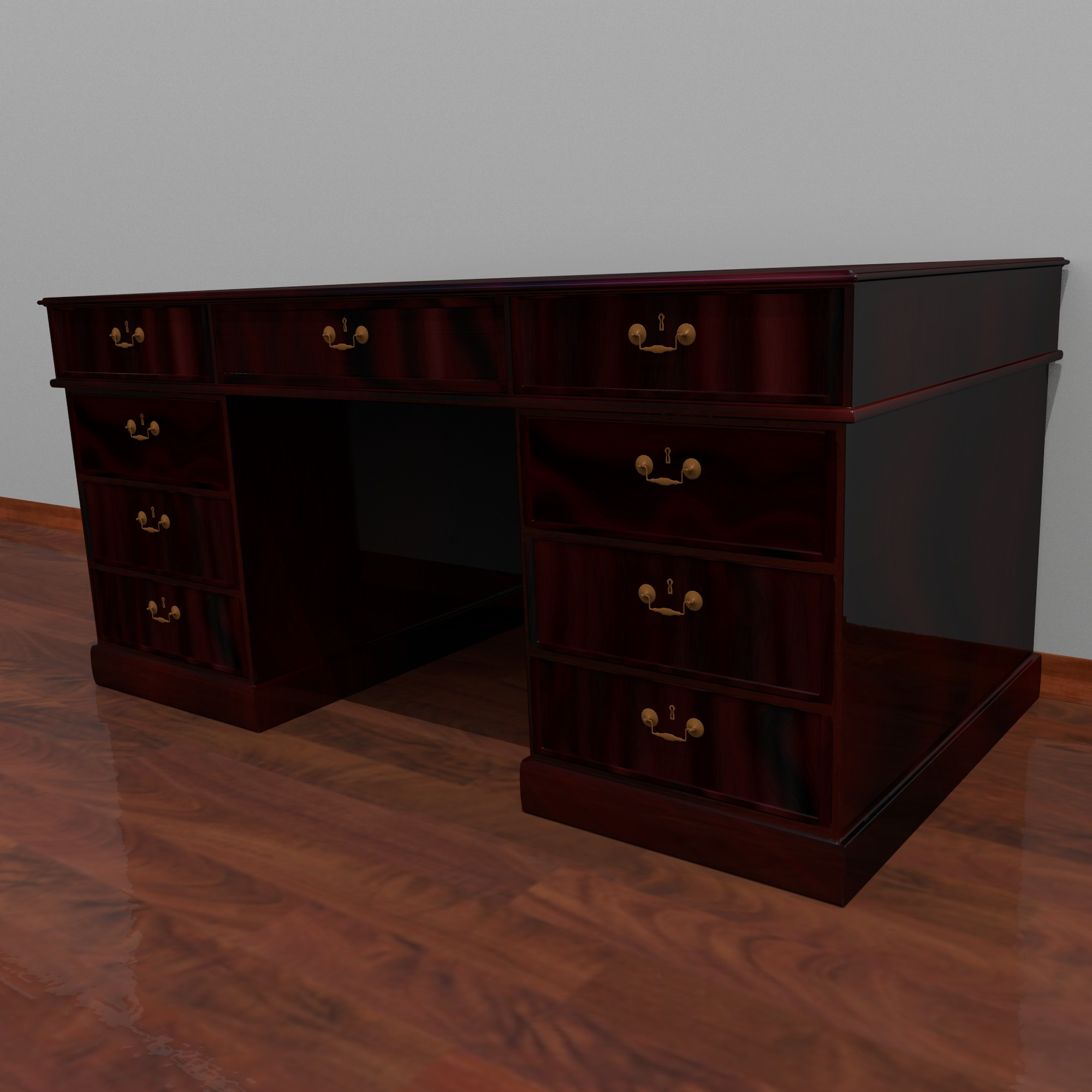 dark wood desk 3d model fbx blend dae obj 117673