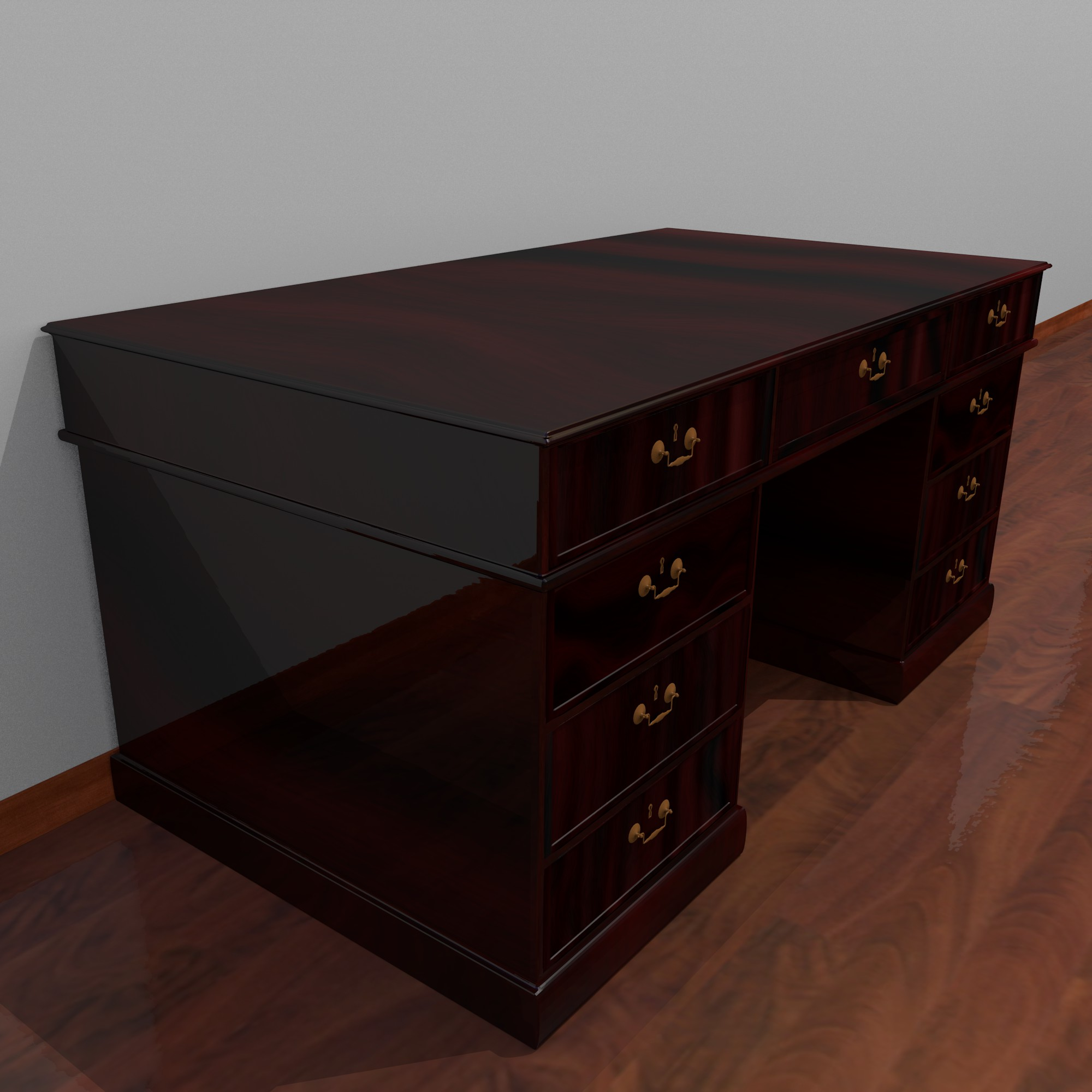 dark wood desk 3d model fbx blend dae obj 117674