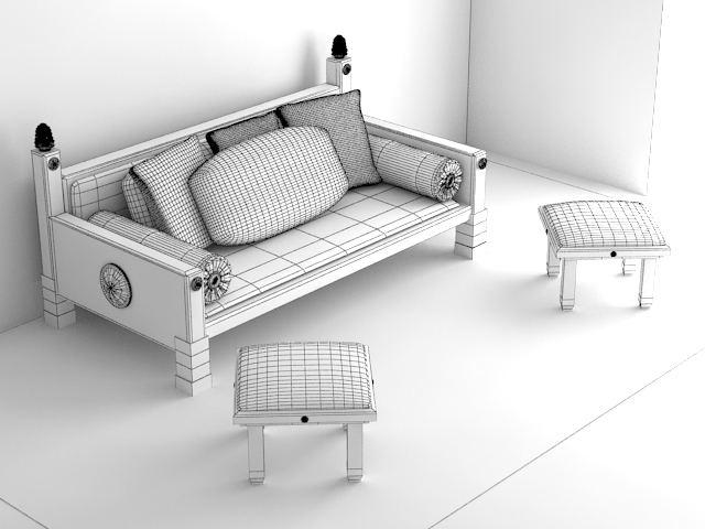 indoor wooden sofa 3d model max 116058