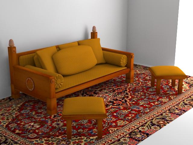 indoor wooden sofa 3d model max 116060
