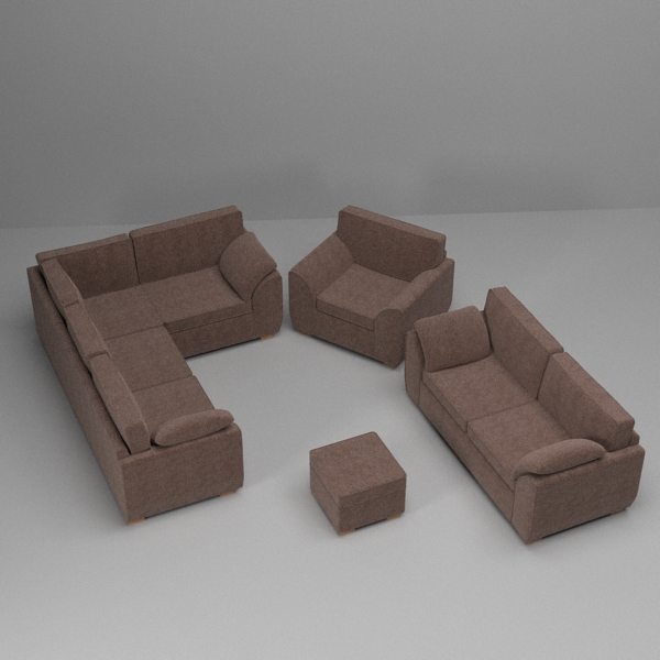 sofa & armchair set 3d model 3ds fbx skp obj 116984
