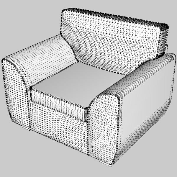 sofa & armchair set 3d model 3ds fbx skp obj 116988