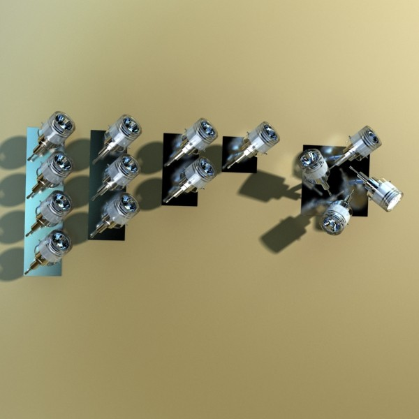 10 halogen lampanın toplanması 3d model 3ds max dwg obj 134813