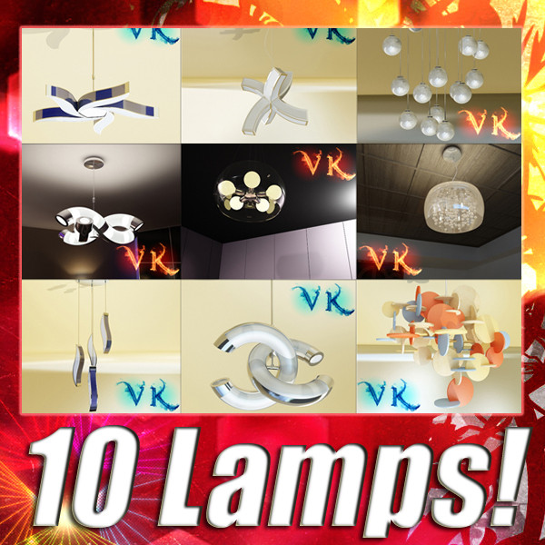 10 moderne hanglamp collectie 3d model 3ds max fbx obj 135102
