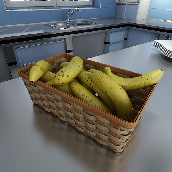 3D Model Bananas in Wicker Basket 09 ( 78.38KB jpg by VKModels )