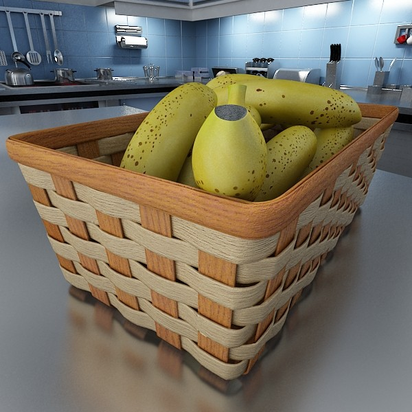 3D Model Bananas in Wicker Basket 09 ( 91.38KB jpg by VKModels )