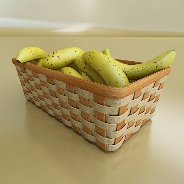 3D Model Bananas in Wicker Basket 09 ( 60.4KB jpg by VKModels )