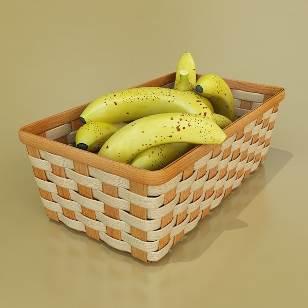 3D Model Bananas in Wicker Basket 09 ( 64.23KB jpg by VKModels )