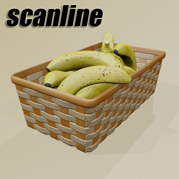 3D Model Bananas in Wicker Basket 09 ( 80.25KB jpg by VKModels )