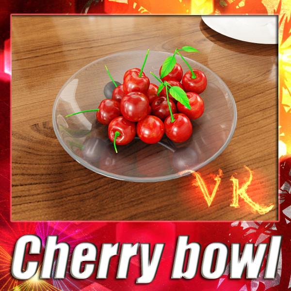 3D Model Cherries in Glass Bowl High Res ( 147.08KB jpg by VKModels )