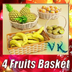 3D Model Fruits & Basket Collection ( 171.54KB jpg by VKModels )