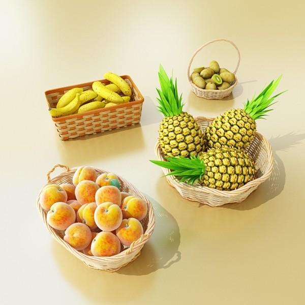 3D Model Fruits & Basket Collection ( 71.88KB jpg by VKModels )
