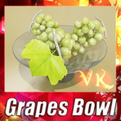 3D Model Green Grapes in Glass Bowl ( 118.9KB jpg by VKModels )