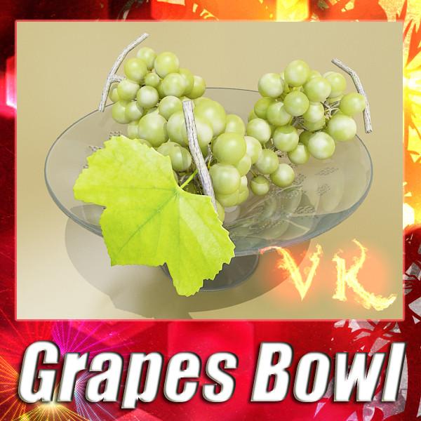3D Model Green Grapes in Glass Bowl ( 118.9KB jpg by VKModels )