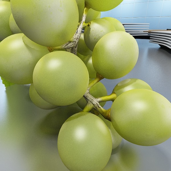 3D Model Green Grapes in Glass Bowl ( 64.31KB jpg by VKModels )