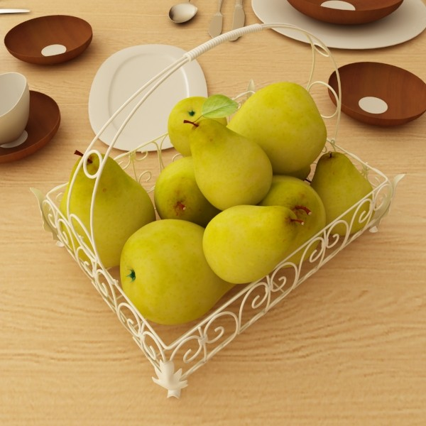 3D Model Pears in Metal Basket ( 69.08KB jpg by VKModels )