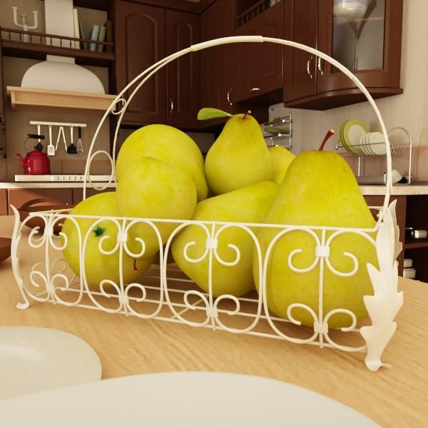 3D Model Pears in Metal Basket ( 77.21KB jpg by VKModels )
