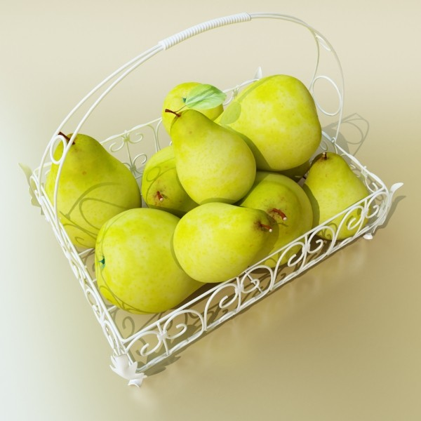 3D Model Pears in Metal Basket ( 53KB jpg by VKModels )