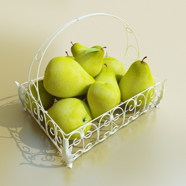 3D Model Pears in Metal Basket ( 51.56KB jpg by VKModels )
