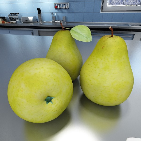 3D Model Pears in Metal Basket ( 66.3KB jpg by VKModels )