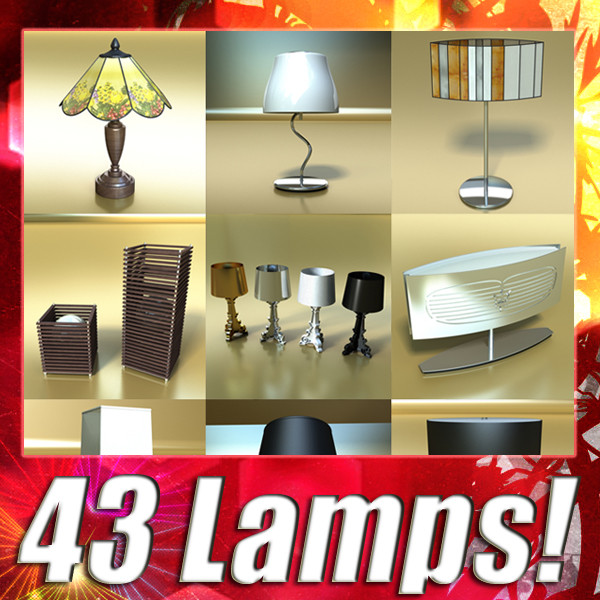 43 lamps mega pack 3d model 3ds max fbx obj 135563
