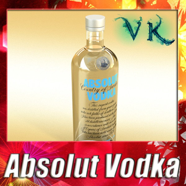 absolut vodka 3d model 3ds maks fbx obj 136029