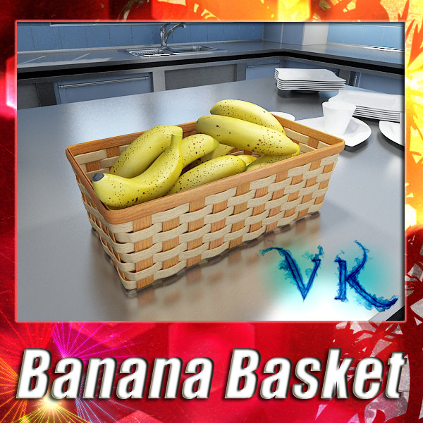 bananas in wicker basket 09 3d model 3ds max fbx obj 132945