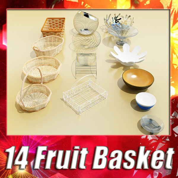 basket and bowls collection 14 items 3d model 3ds max fbx obj 133429